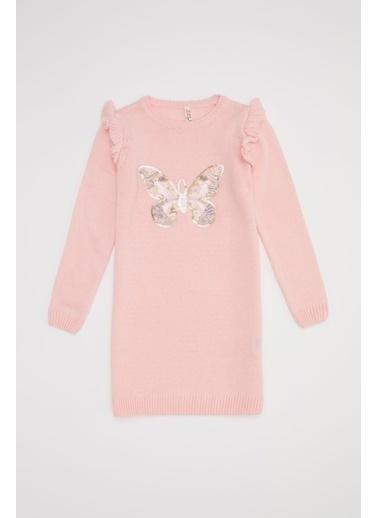 DeFacto Kız Çocuk Payet İşlemeli Triko Elbise Pembe